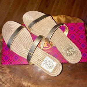 Tory Burch 2 Band Gold Espadrille Sandals